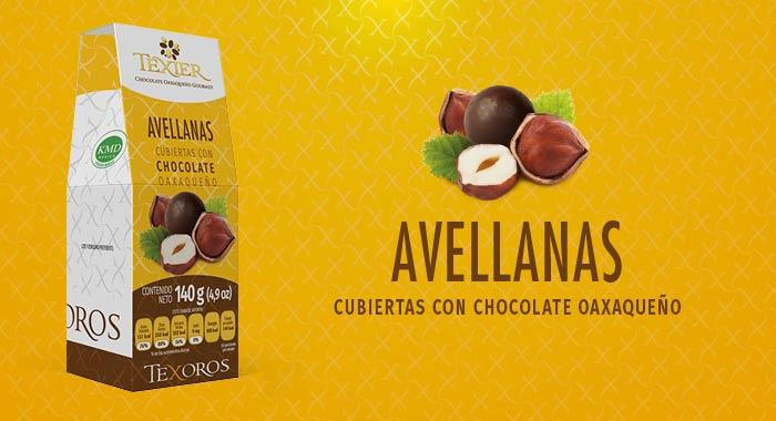Avellanas cubiertas con delicioso Chocolate Gourmet de Oaxaca Texier