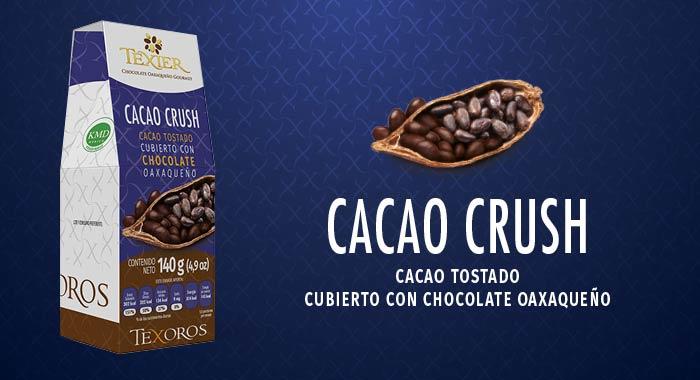 Cacao Crush, Cacao Tostado cubierto con Chocolate Gourmet de Oaxaca Texier