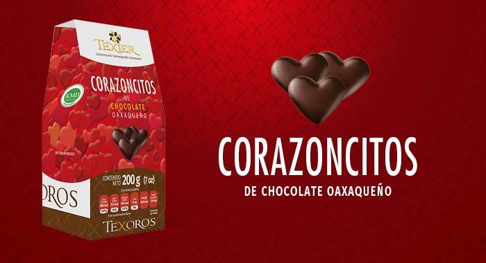 Corazoncitos con delicioso Chocolate Gourmet de Oaxaca Texier
